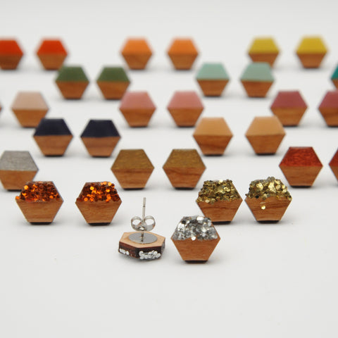 12mm Wooden Hexagon Stud Earrings