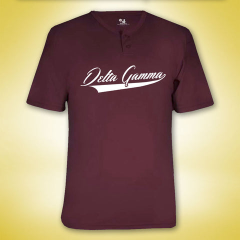Delta Gamma Baseball Button Shirt - Maroon