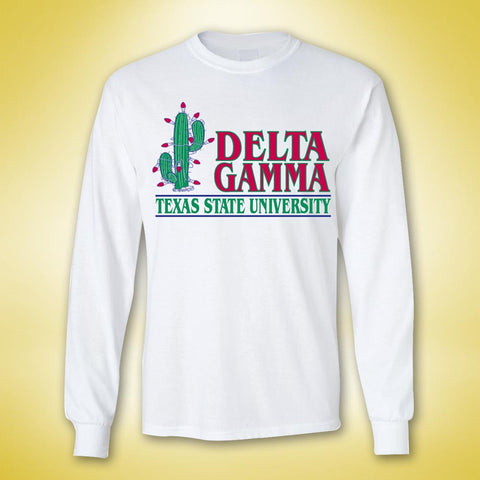 Delta Gamma Holiday Be A DG Long Sleeve - White