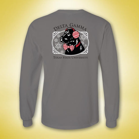 Delta Gamma Holiday Dog Long Sleeve - Grey
