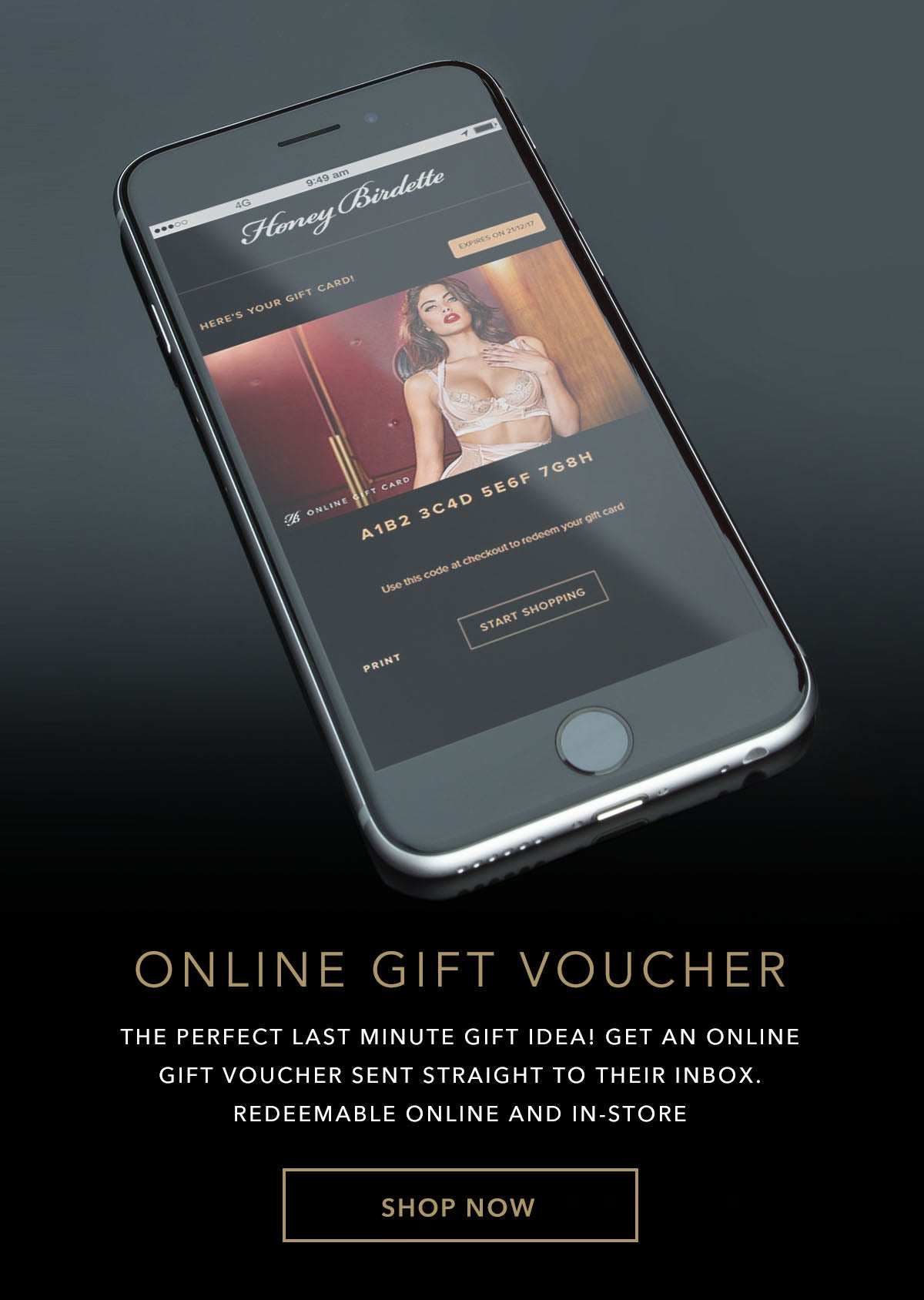 Online Gift Voucher - Gift Card - Honey Birdette UK
