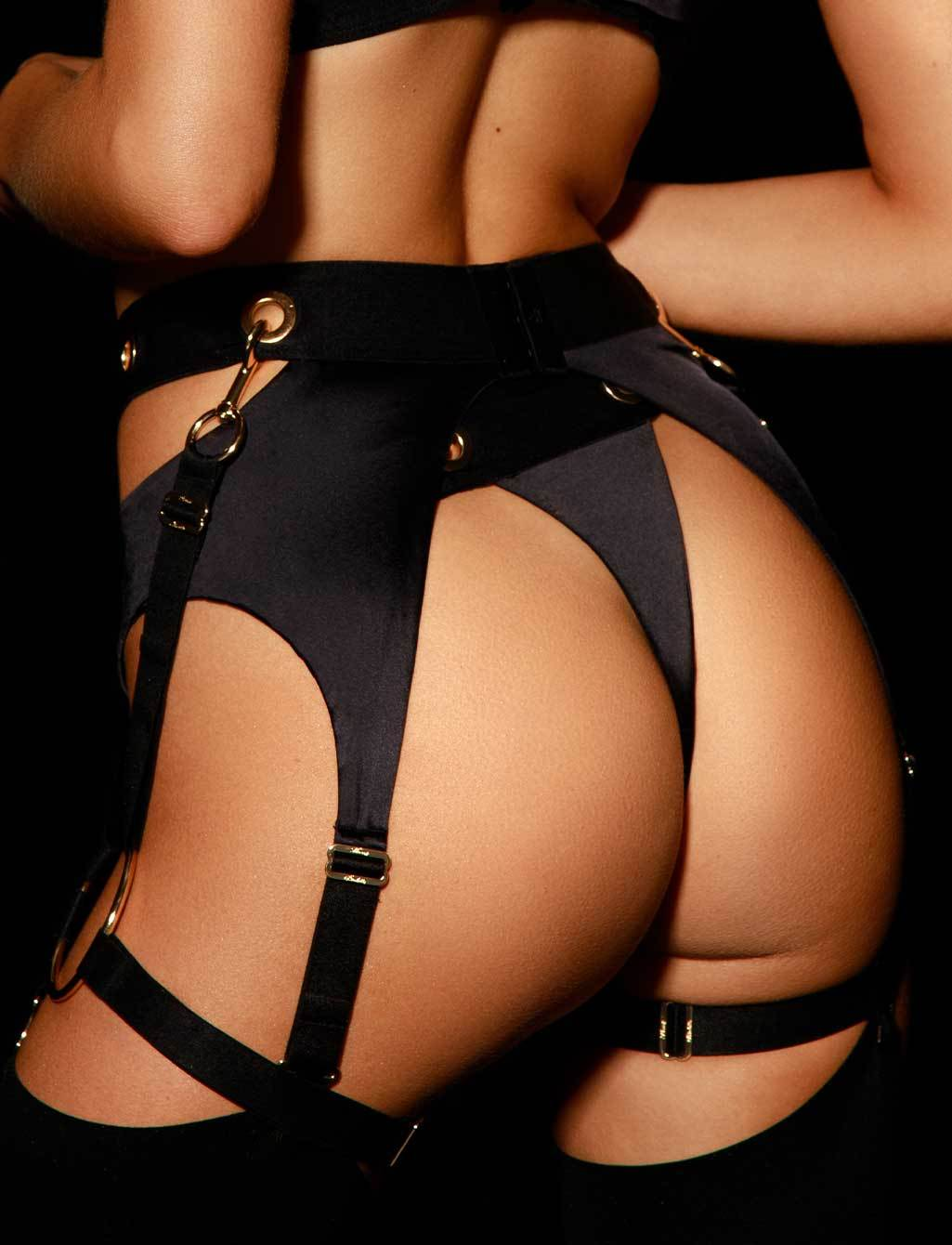 Ava Black Suspender - Shop Lingerie | Honey Birdette