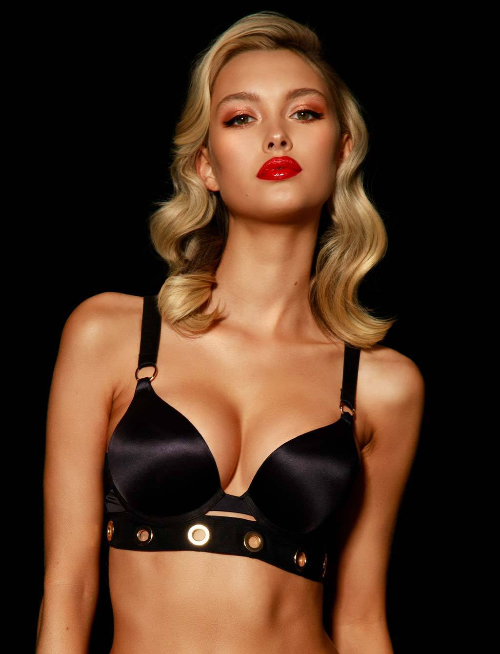 Ava Black Push Up Plunge Bra - Shop Lingerie | Honey Birdette