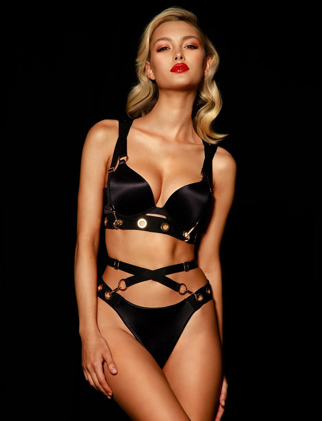 Ava Black Push Up Bra Lingerie Set - Shop  Lingerie | Honey Birdette