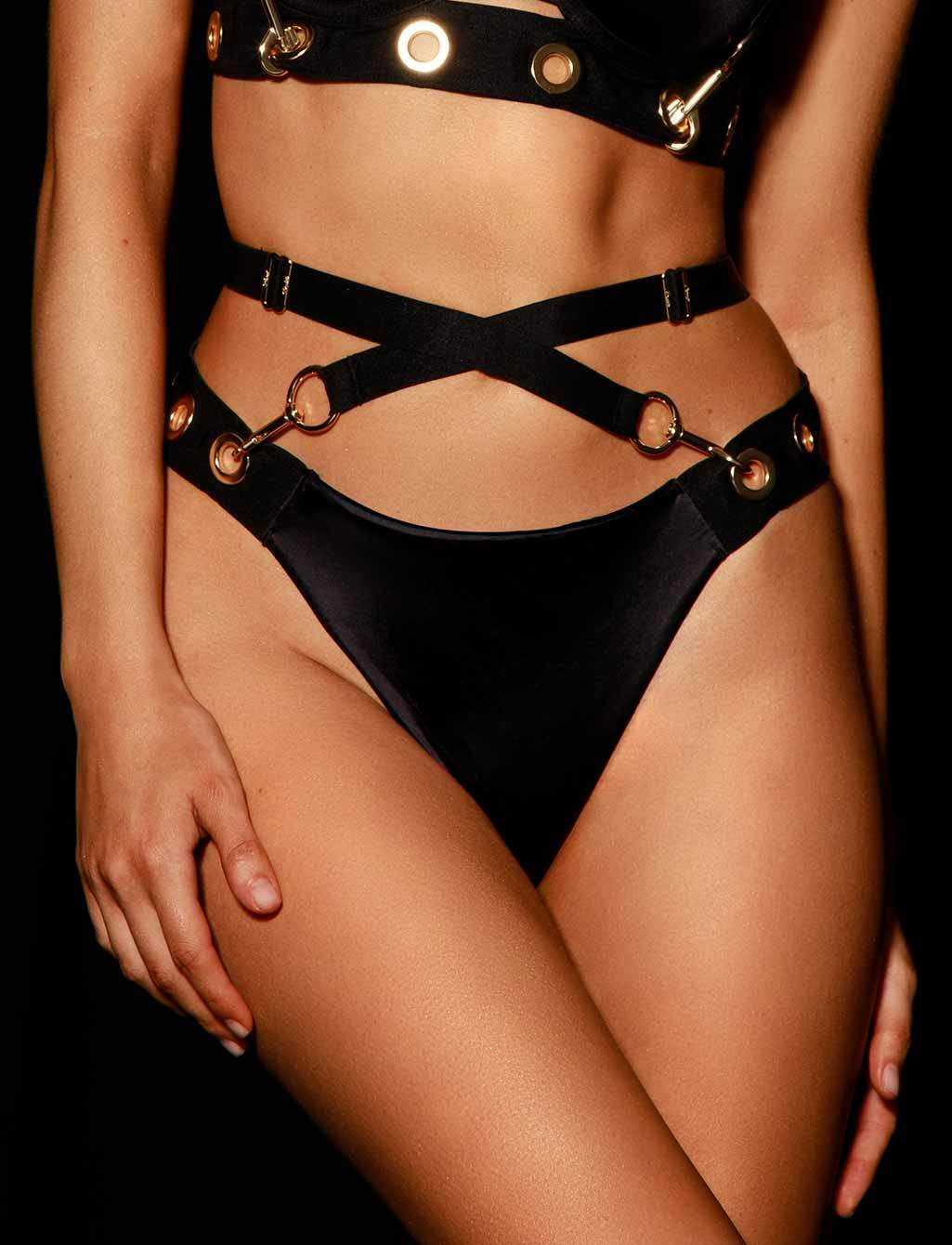 Ava Black Thong - Shop Lingerie | Honey Birdette