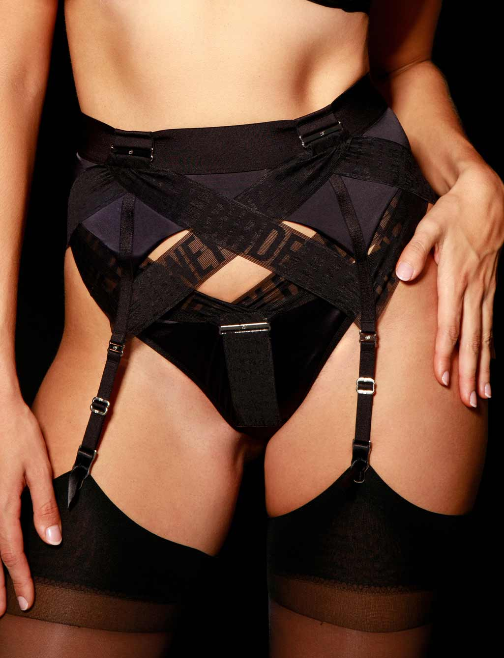 Blake Black Suspender - Shop  Lingerie | Honey Birdette