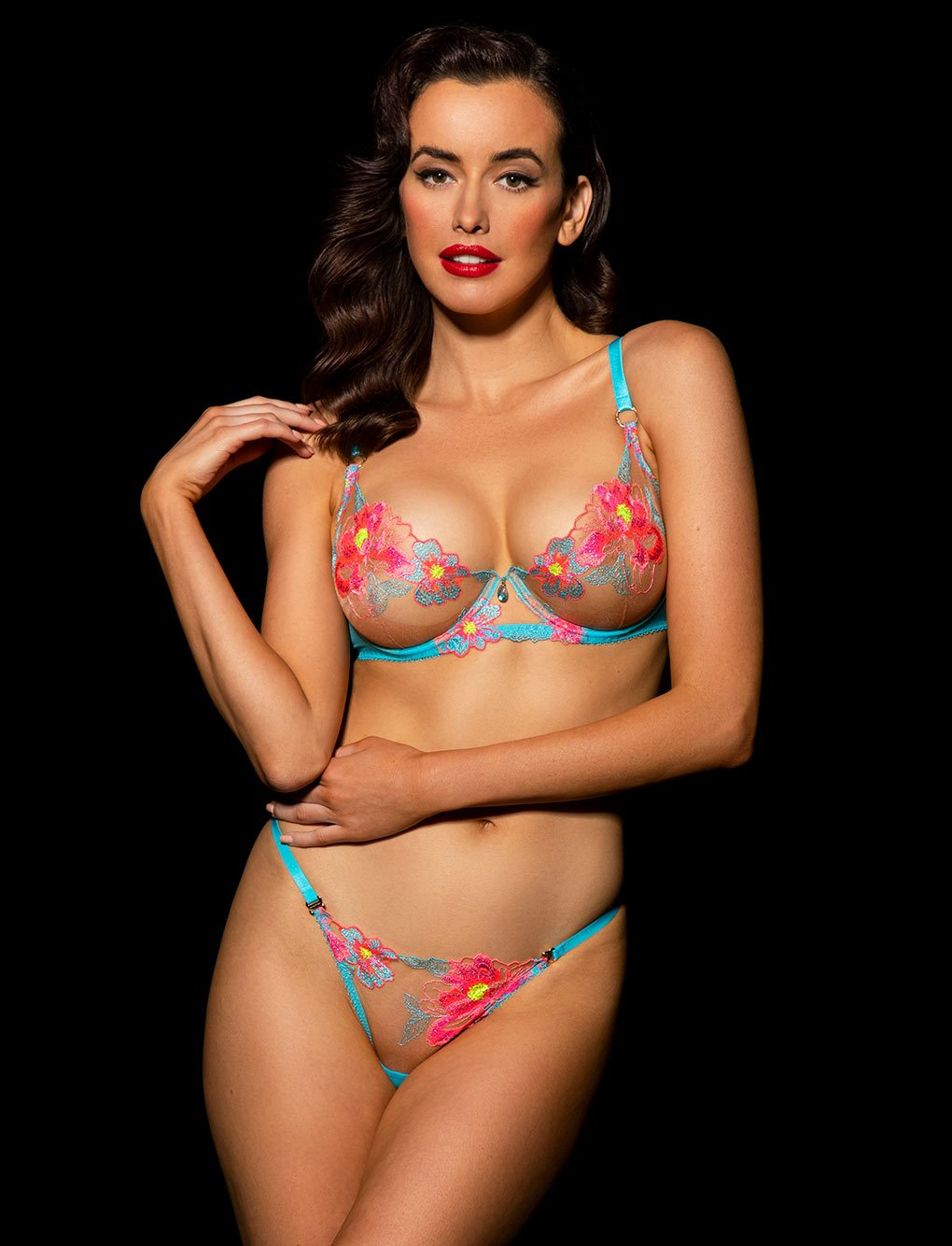 Christine Turquoise Bra & Bottoms Set