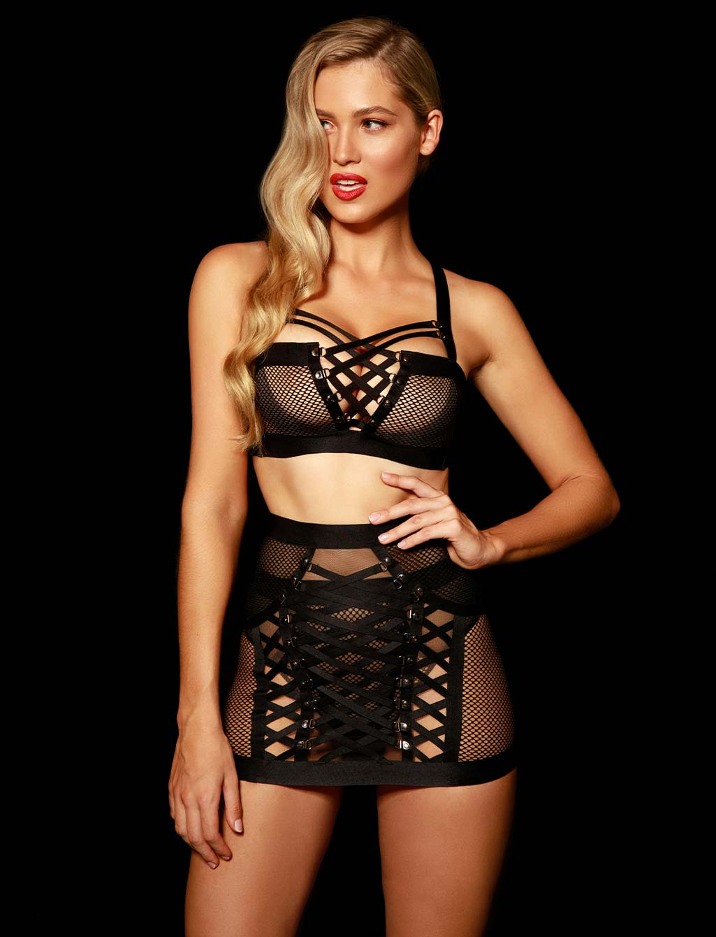 Courtney Black Suspender | Shop  Lingerie Honey Birdette