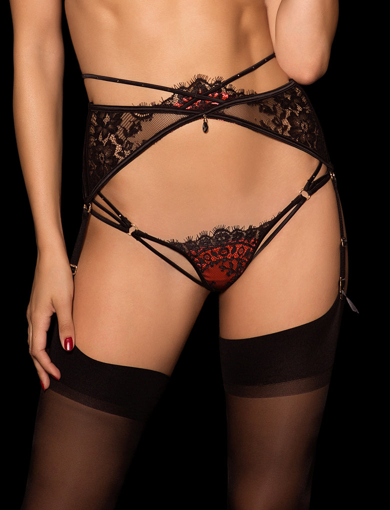Colette Suspender Black & Red