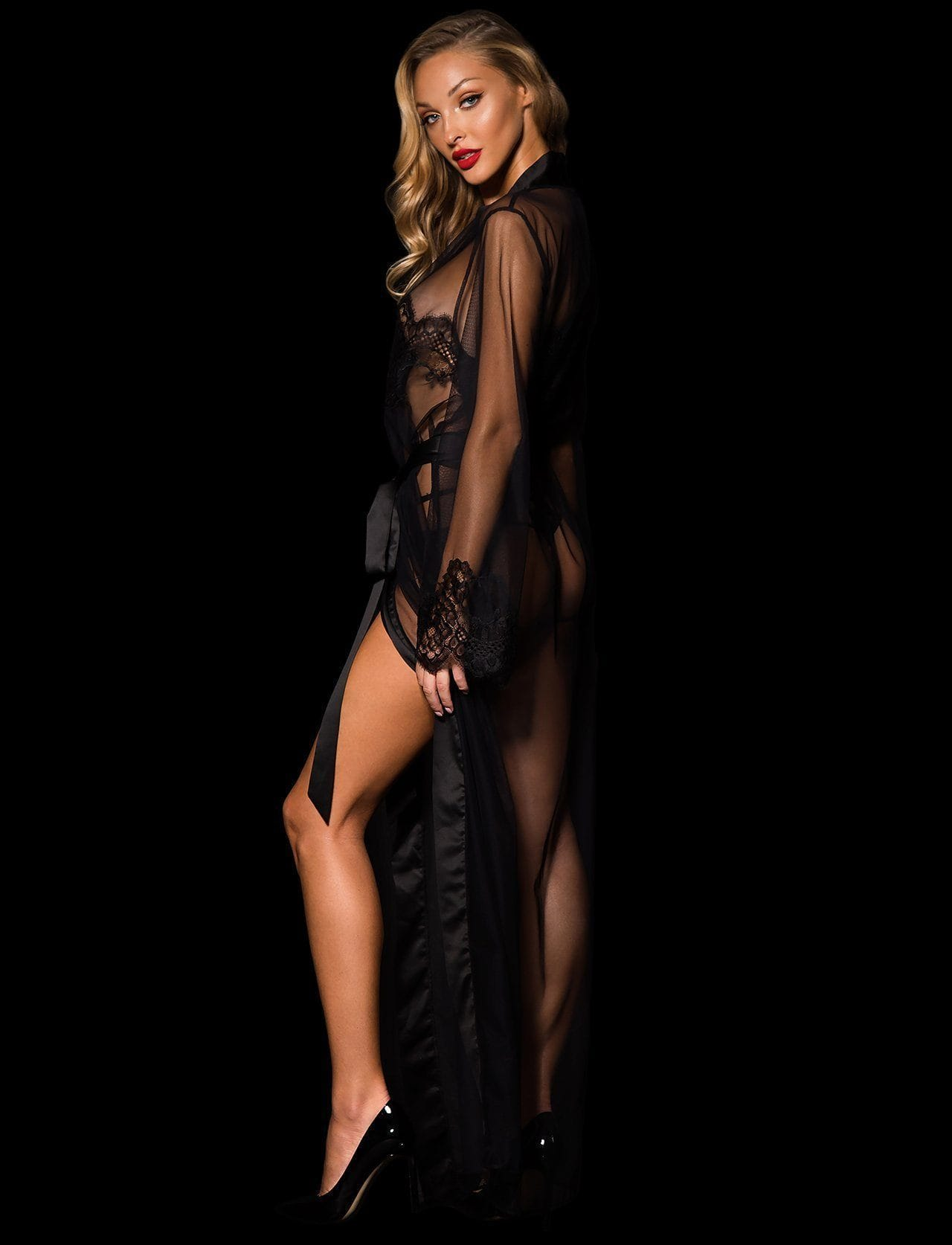 Jessica Black Robe - Shop Robe | Honey Birdette UK
