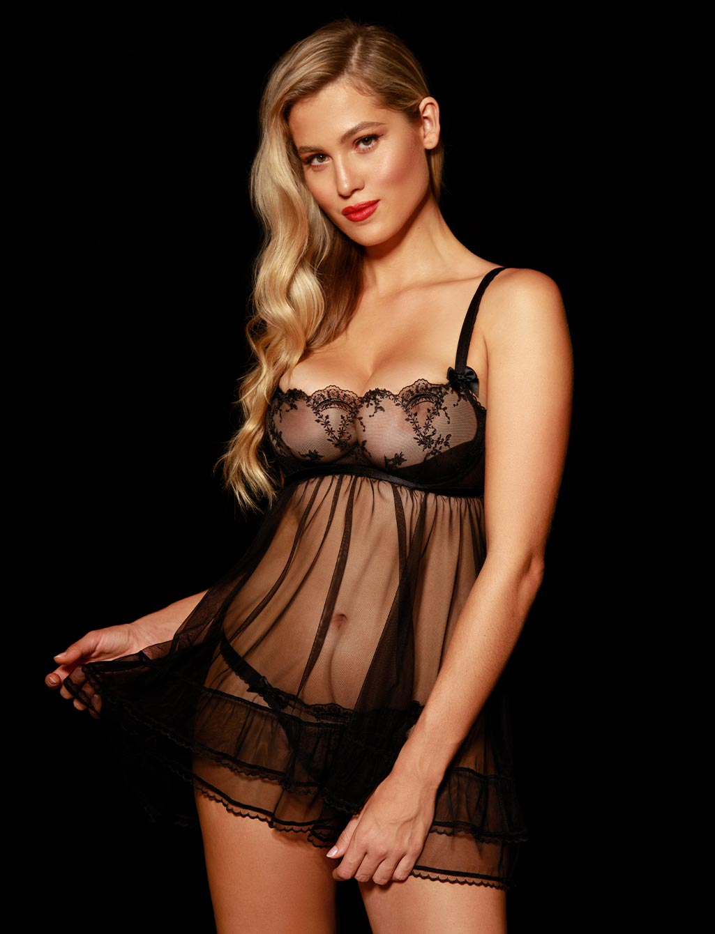 Layla Black Lace Babydoll Lingerie Set | Shop  Lingerie Honey Birdette