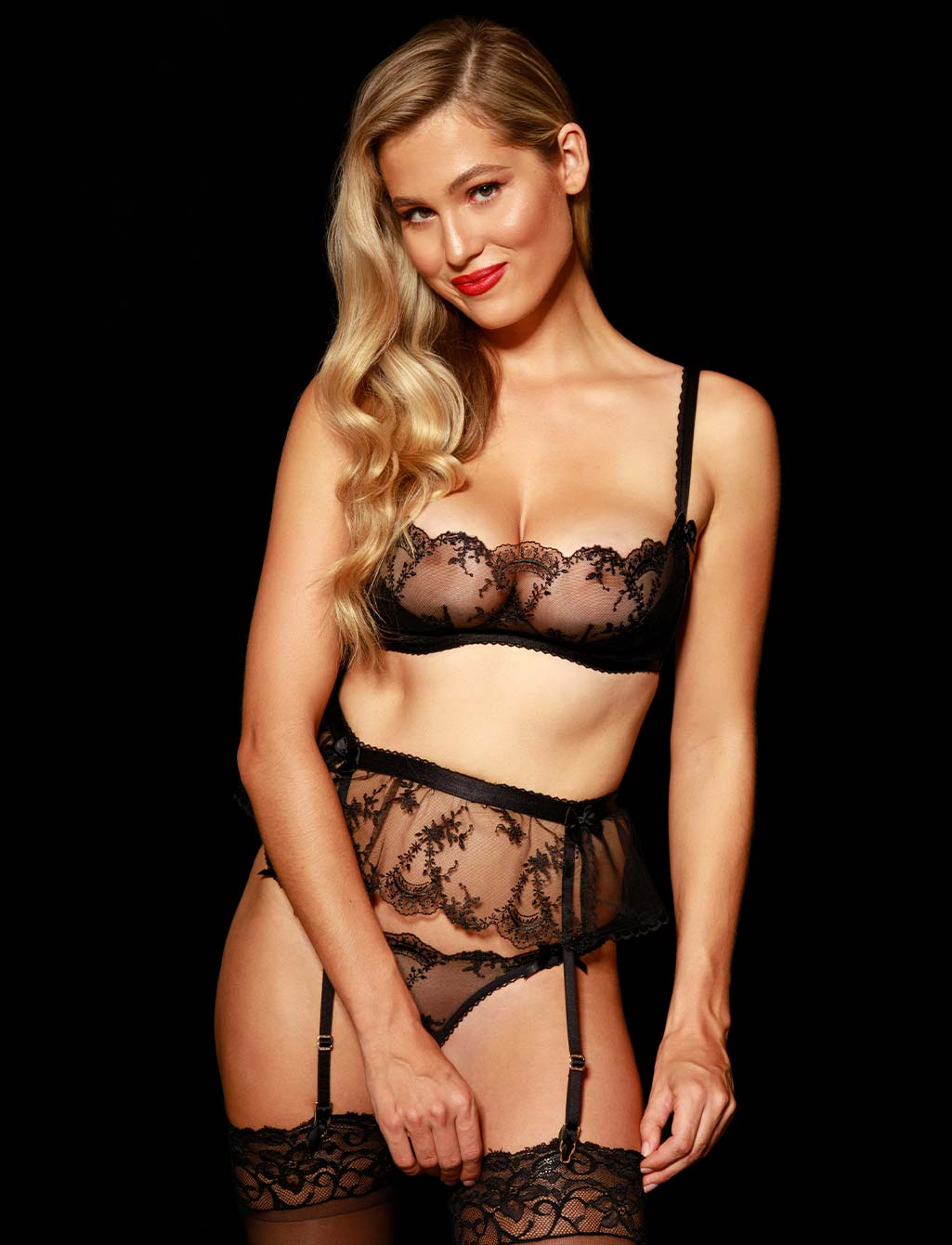 Layla Black Sexy Babydoll Suspender | Shop  Lingerie Honey Birdette