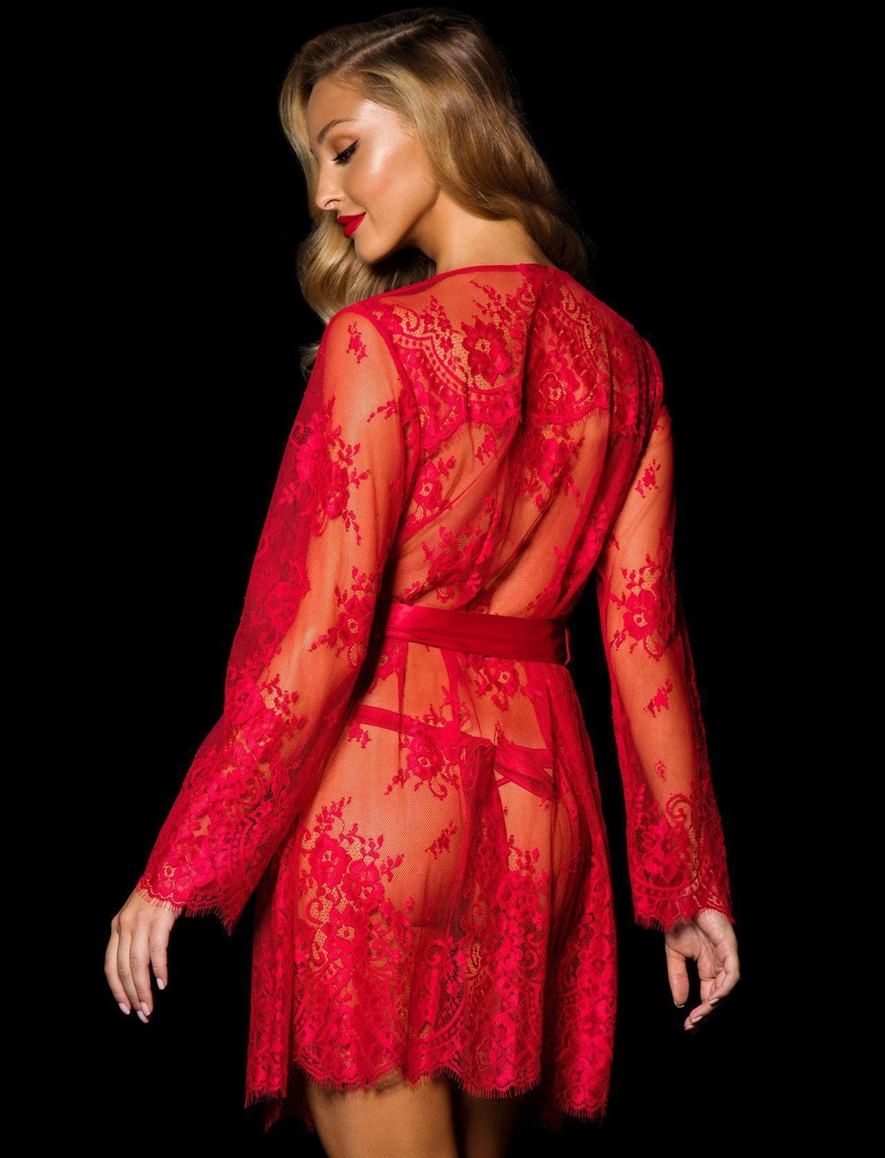 Red Love Lace Robe - Shop Robe | Honey Birdette UK