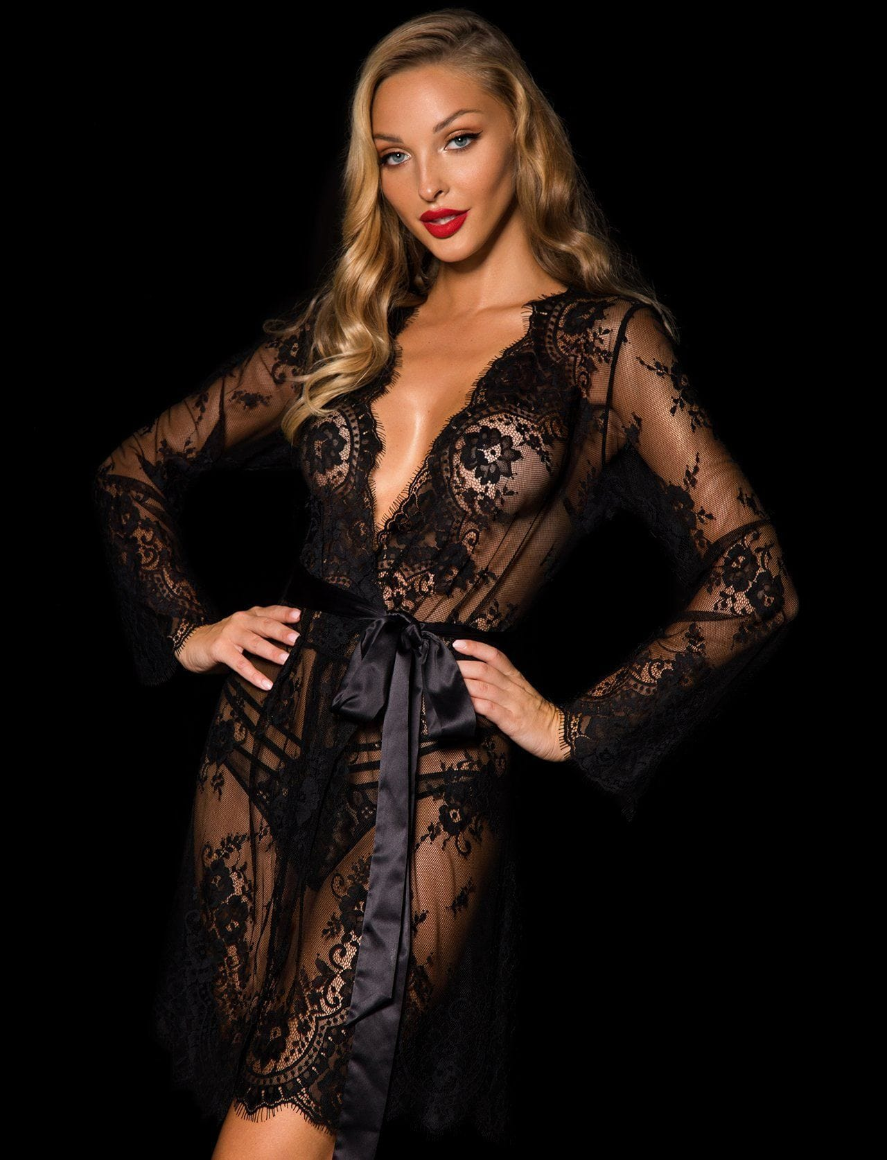 Black Love Lace Robe - Shop Robe | Honey Birdette UK
