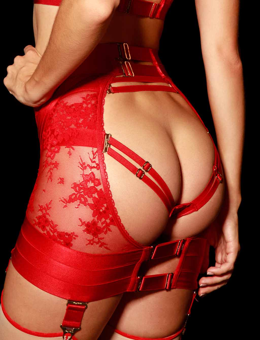 Lucille Sexy Red Lace Waspie Suspender - Shop Lingerie | Honey Birdette