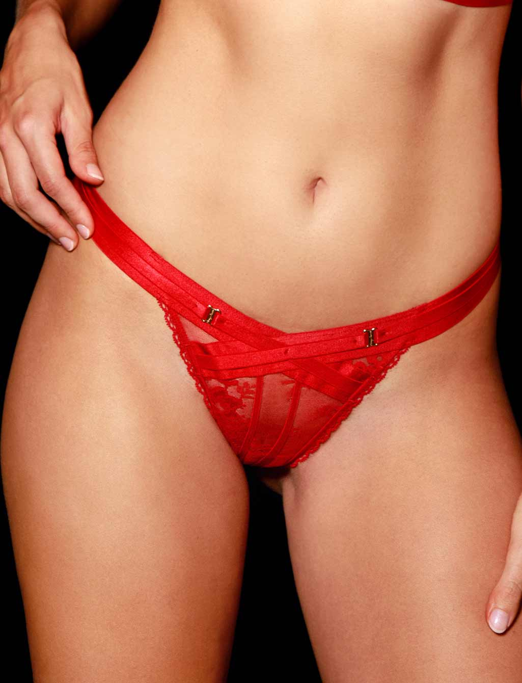 Lucille Sexy Red Lace Thong - Shop Lingerie | Honey Birdette