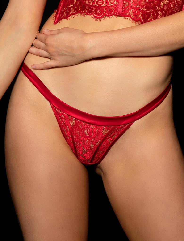 Maria Red Thong - Shop Thong | Honey Birdette UK