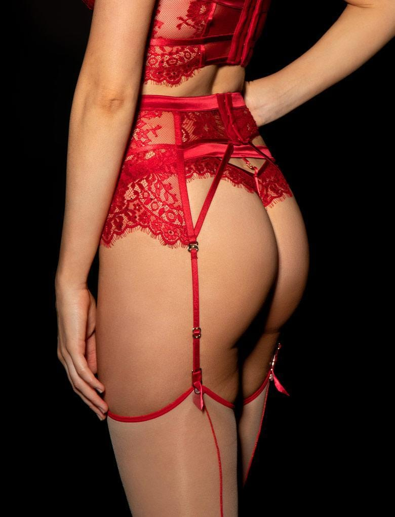 Maria Red Suspender - Shop Suspender | Honey Birdette UK