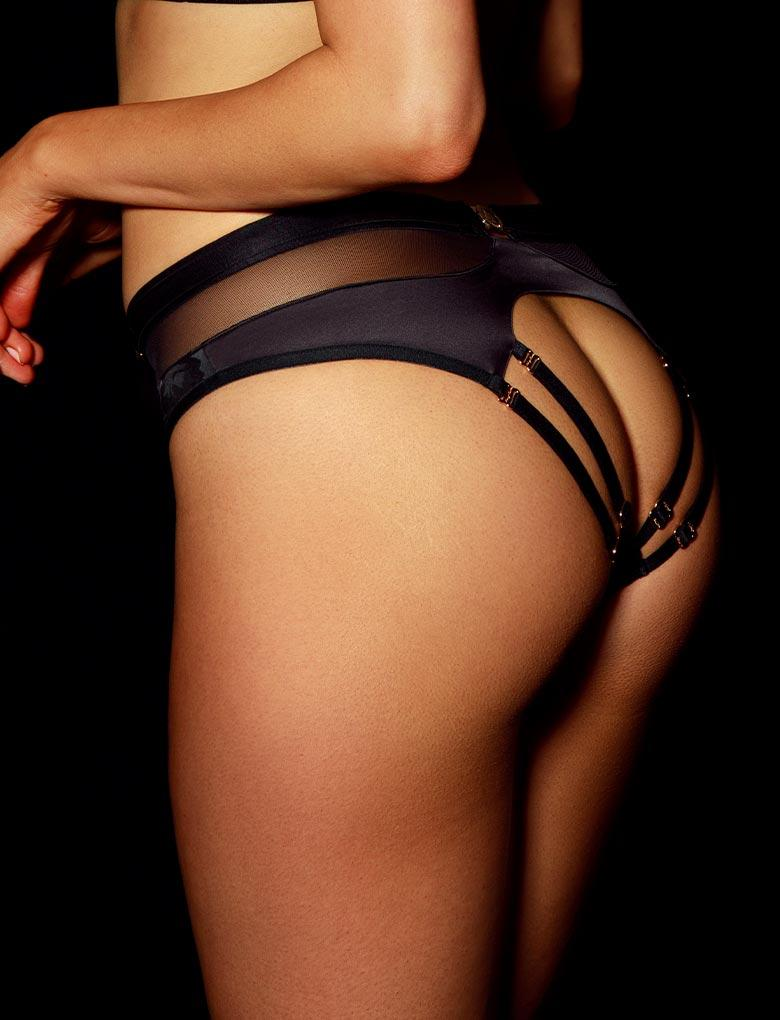 Martika Black Open Back Brief | Shop Panties | Honey Birdette