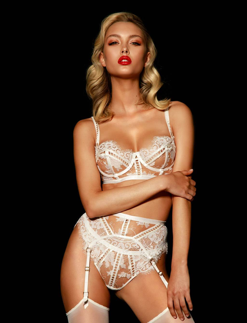 Molly Lace White Ivory Bridal Suspender | Shop  Lingerie Honey Birdette