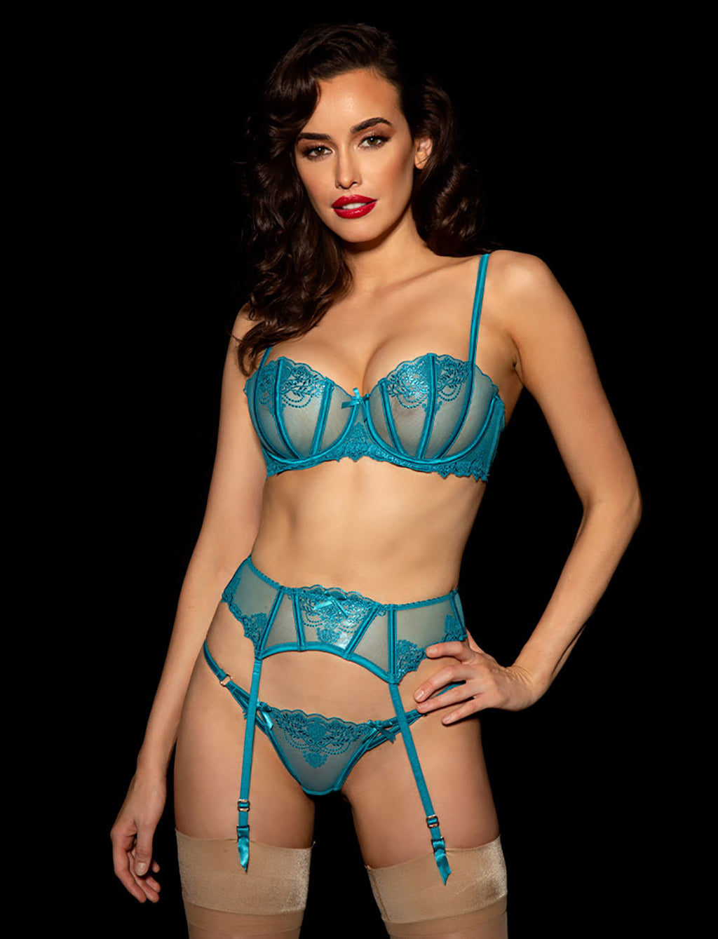 Natalie Teal 3 Piece Set - Shop Lingerie Set | Honey Birdette UK
