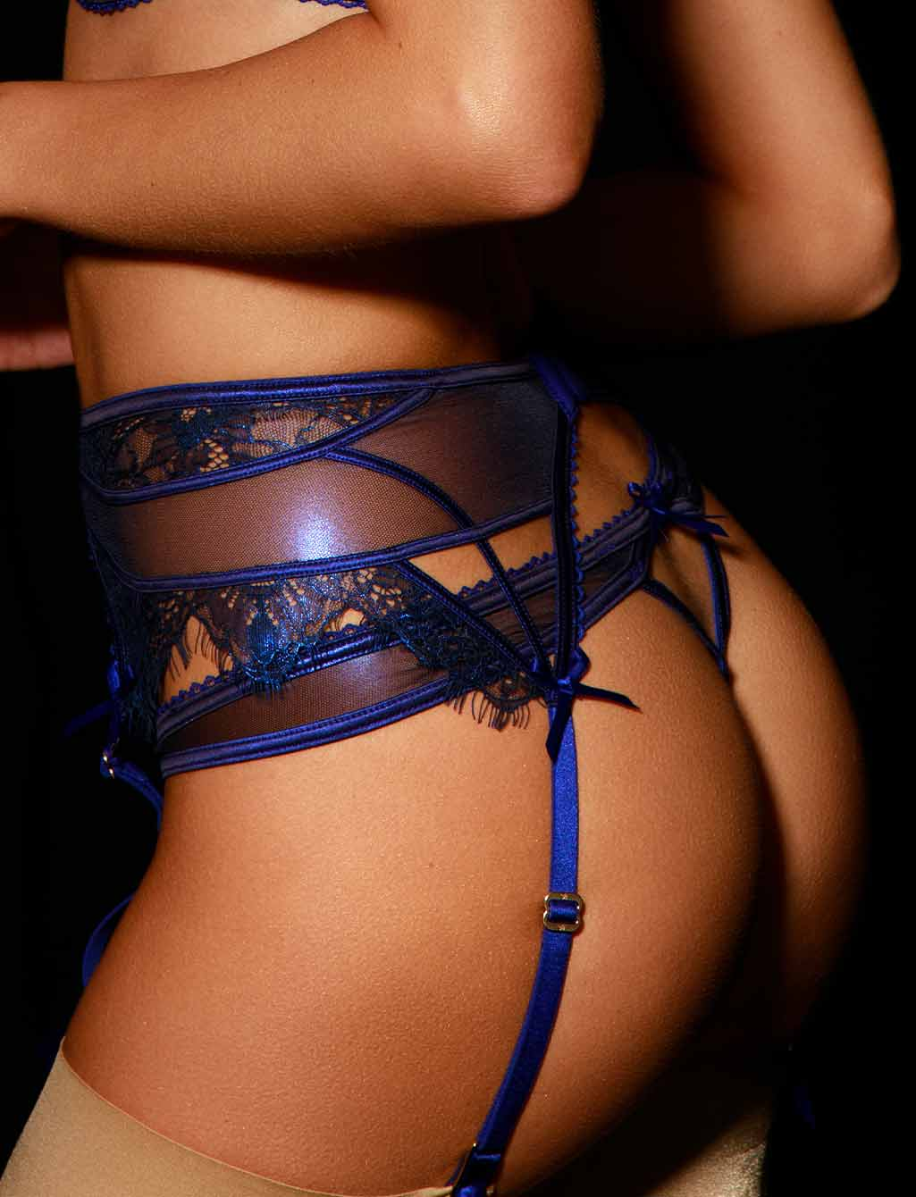 Roisin Regal Blue Lace Suspender - Shop Lingerie | Honey Birdette