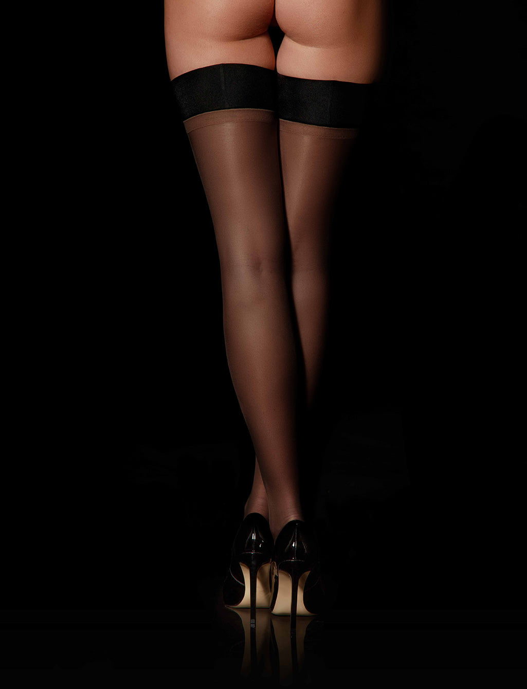 Sheers Black Stay-Up - Hosiery | Honey Birdette