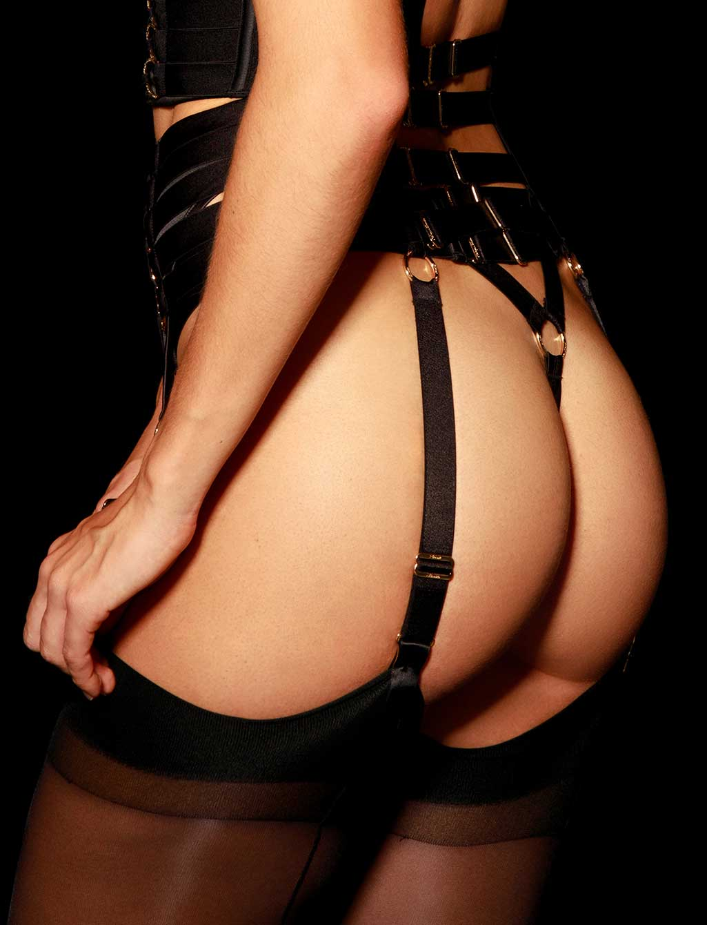 Stevie Black Sexy Suspender | Shop  Lingerie Honey Birdette