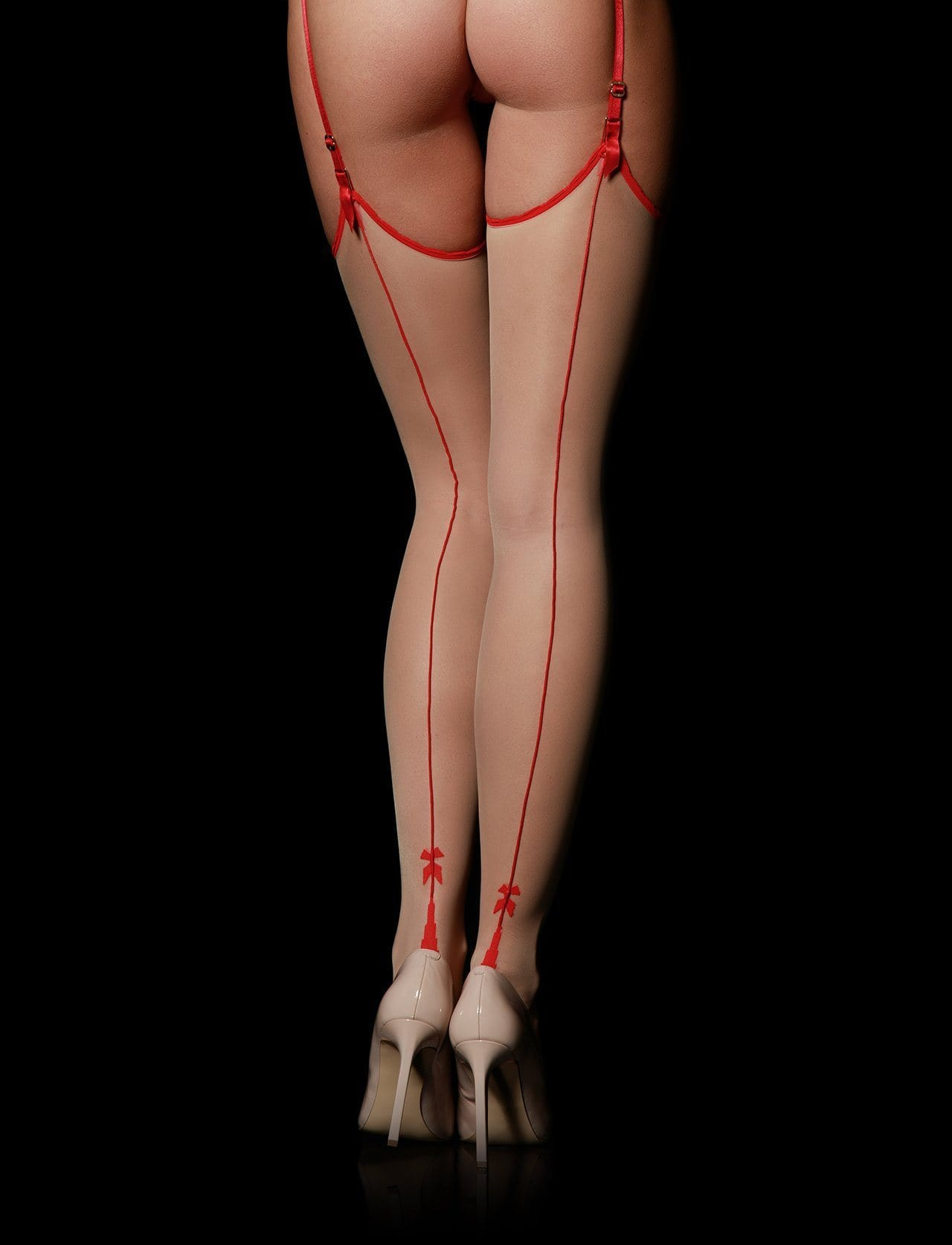 Chic Bowtie Red Stockings - Shop Hosiery | Honey Birdette UK