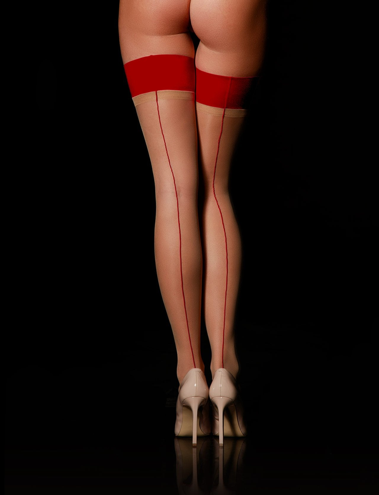 Gia Red Stay Ups - Shop Hosiery | Honey Birdette