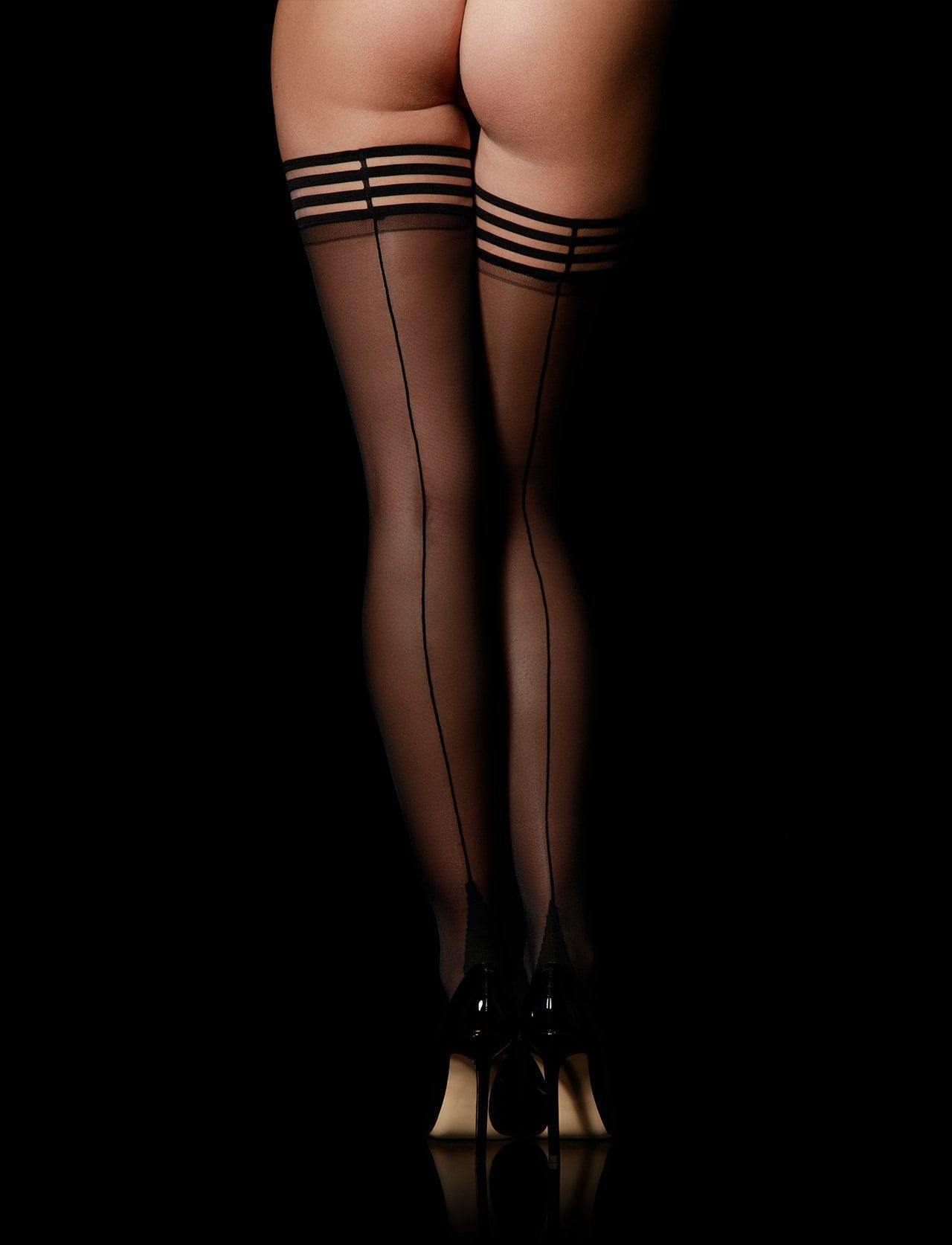 Stripes Black Stay Up Stockings