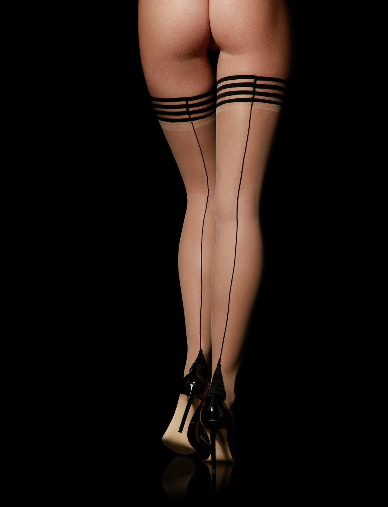 Stripes Champagne Stay Up Stockings - Shop Hosiery | Honey Birdette UK
