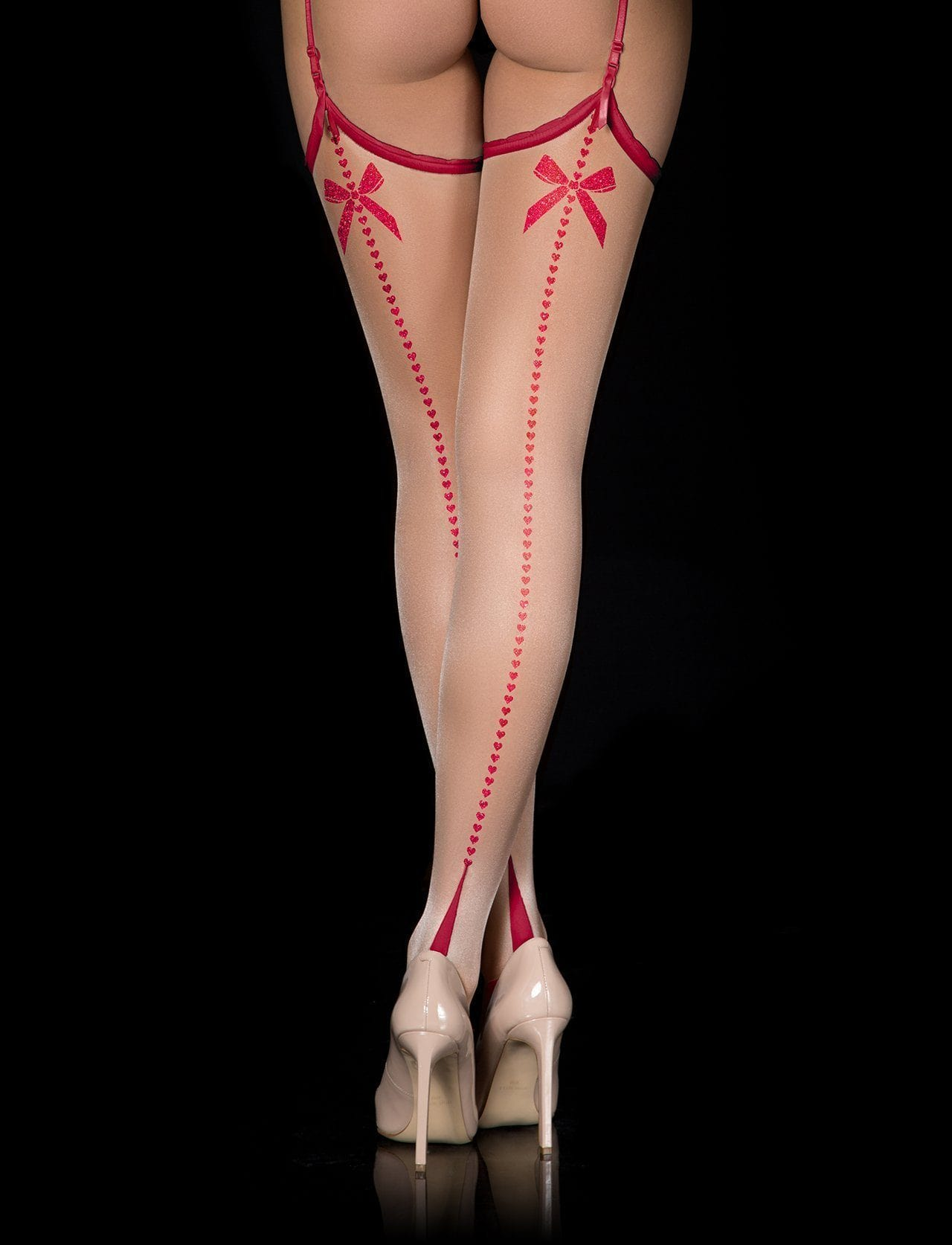Red Retro Glitter Stockings - Shop Hosiery | Honey Birdette