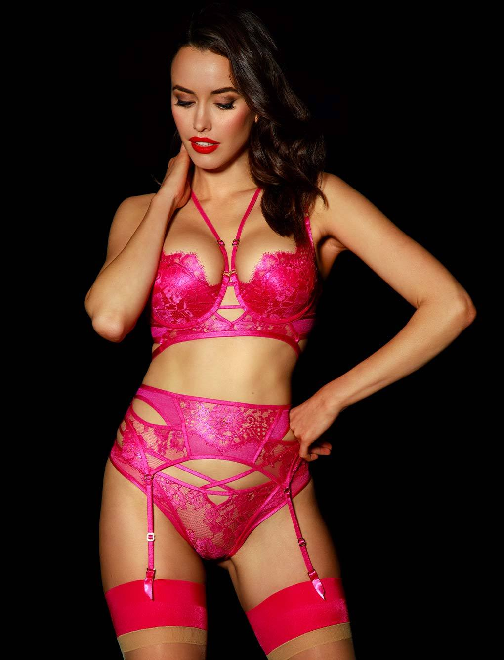 Vanessa Pink Suspender | Shop Lace Suspenders | Honey Birdette