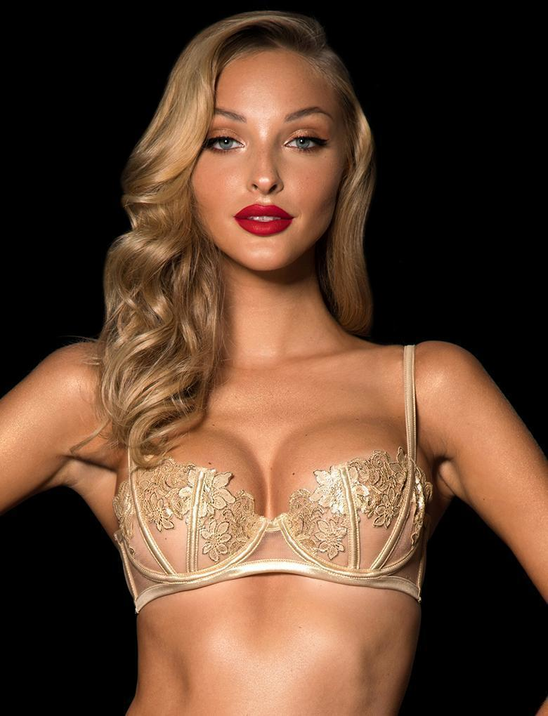 Amelie Gold Underwire Bra - Shop Bra | Honey Birdette UK