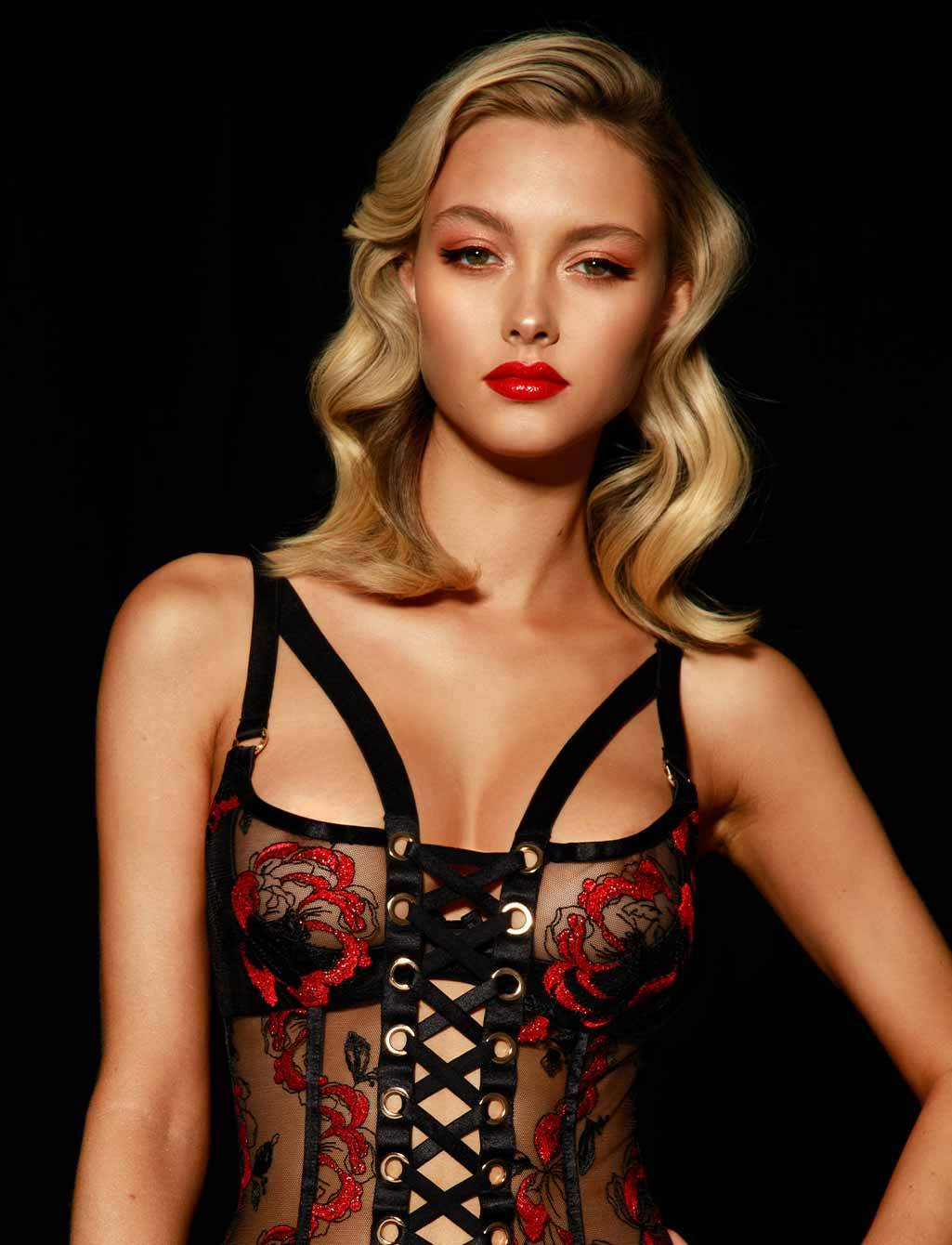 Freyah Lace Up Black & Red Bustier - Shop Corsets & Bodysuits | Honey Birdette