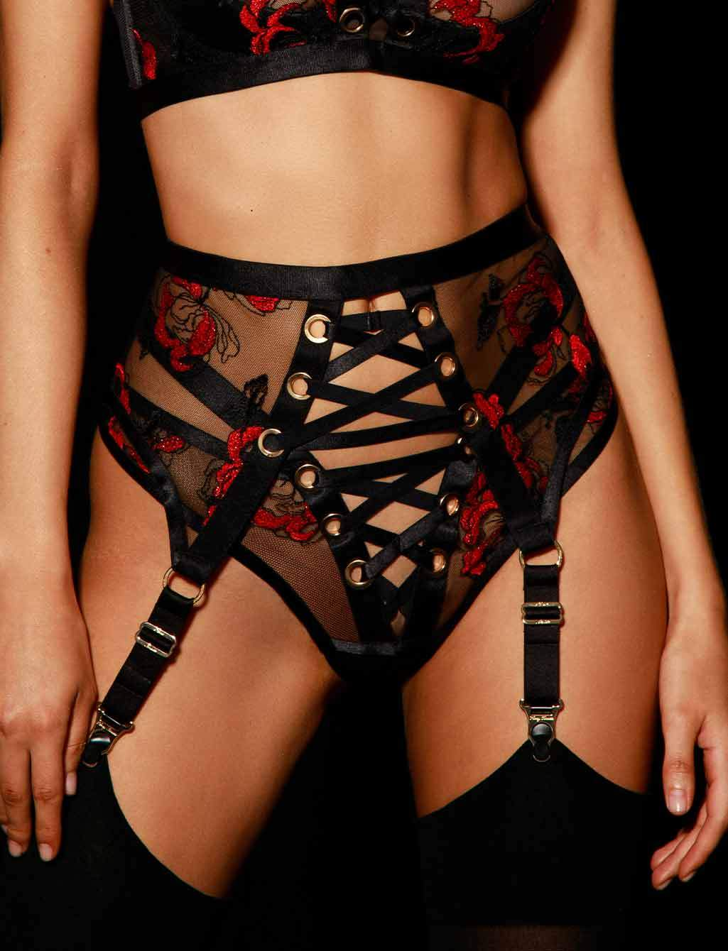 Freyah Lace Up Black & Red Suspender - Shop Suspenders | Honey Birdette