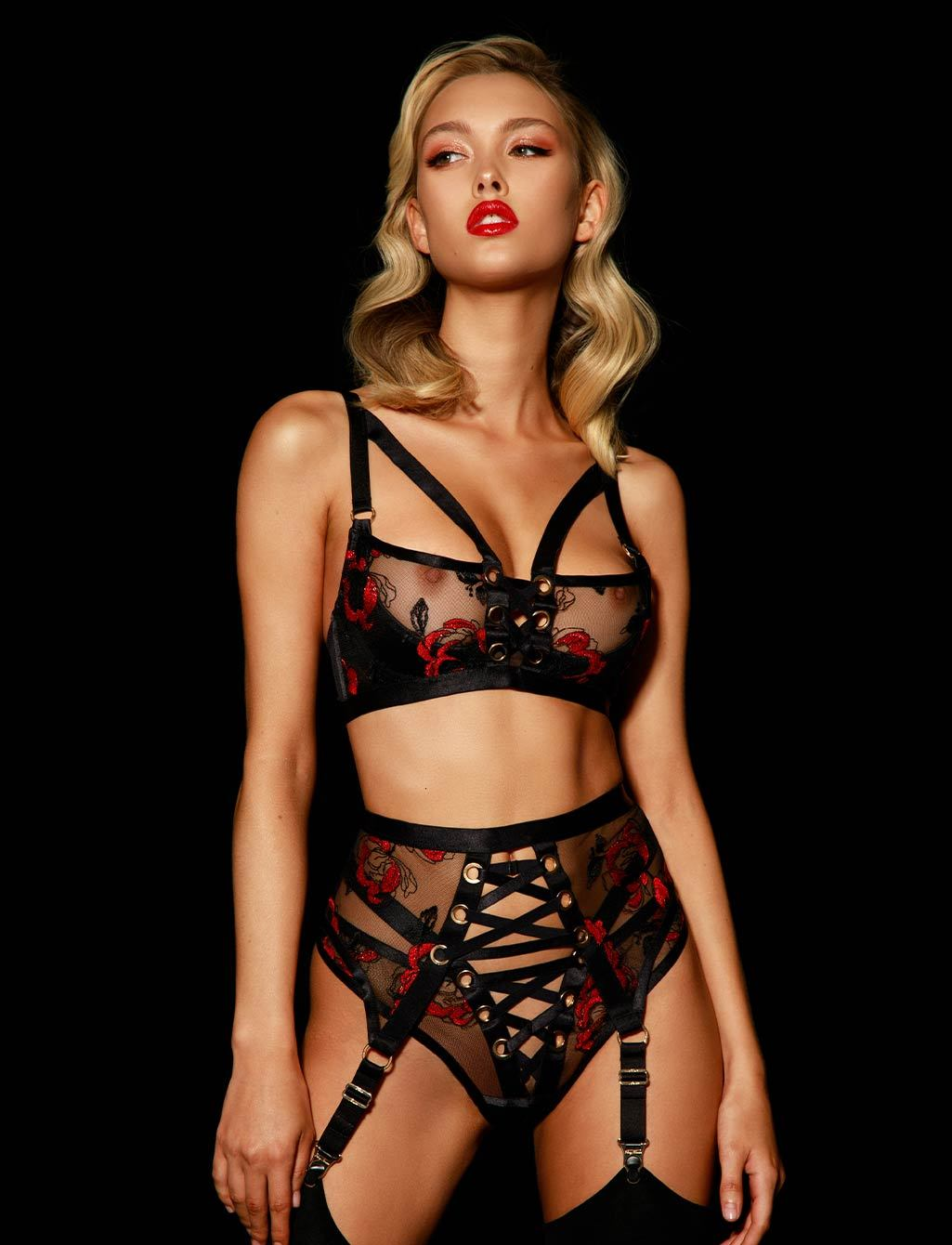 Freyah Red & Black Lingerie Set - Shop  Lingerie | Honey Birdette