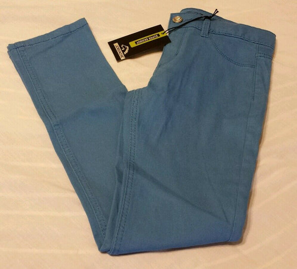 Jordache Super Skinny Colored Pants Girls Sz 10 Adjustable Waist Blue