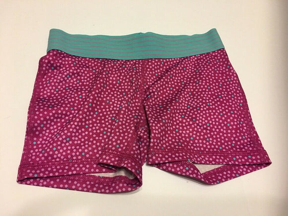 Girls Fitted Compression Shorts Danskin Small Berry Dot