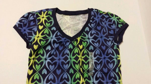 Old Navy Girls Tee Shirt  Medium 8 Heart Print Kids
