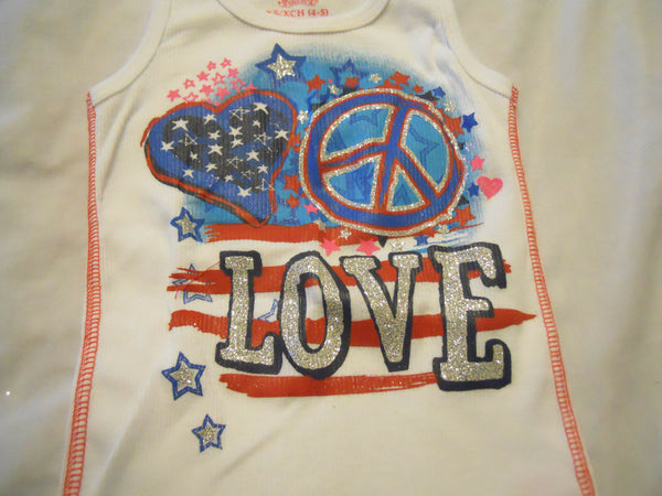Girls Tank Top Glitter Shirt XS 4-5 Kids