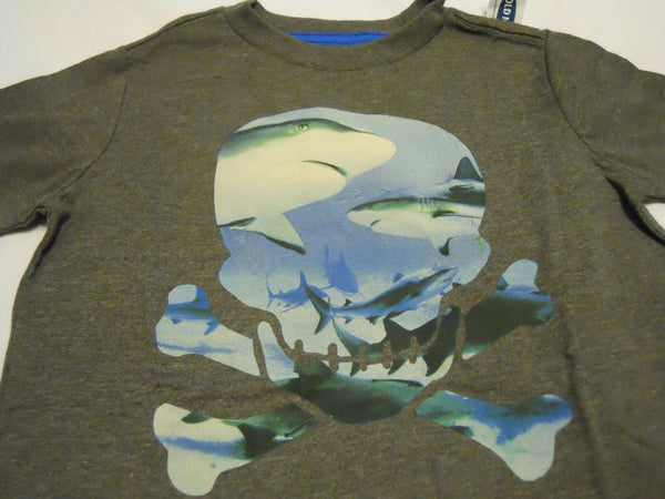 Old Navy Tee Shirt  Boys XL 14-16 Gray Skull Print Shark