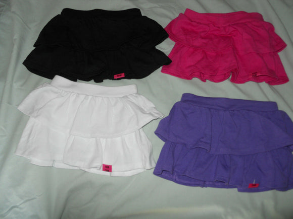Girls Skort Tiered Skirt Baby Toddlers Size Purple White Black Pink