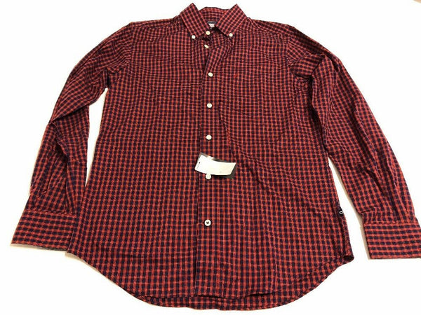 Nautica Button Front Shirt Size Small Men Red Plaid Casual Long Sleeve