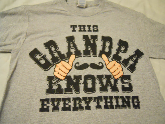 Men's Tee Shirt Sz S 34-36 Gray This Grandpa Know Everything