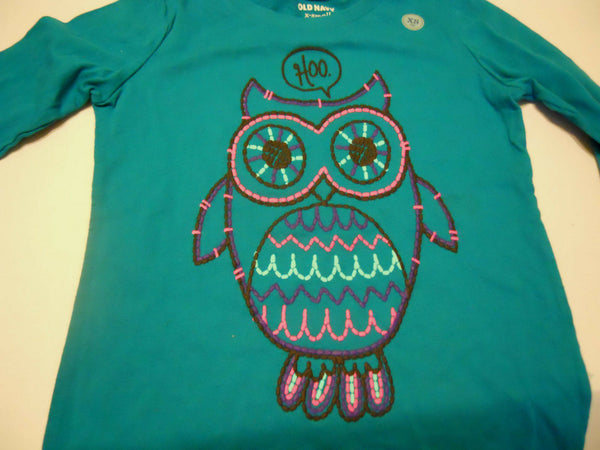 Old Navy Girls Tee Shirt Size XS 5 Owl Hoo Print