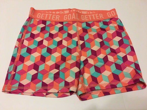 Girls Danskin Fitted Compression Shorts Active Sports Medium Geo