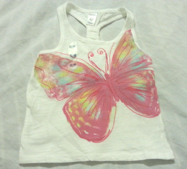 Shirt Top Size 12-18 Months White Butterfly