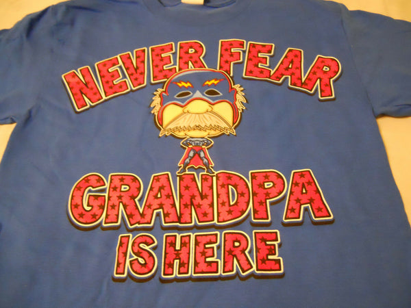 Men's Tee Shirt Sz S 34-36 Royal Blue Graphic Never Fear Grandpa is Here